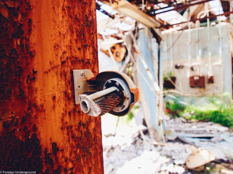 Abandoned and rusted pencil sharpener