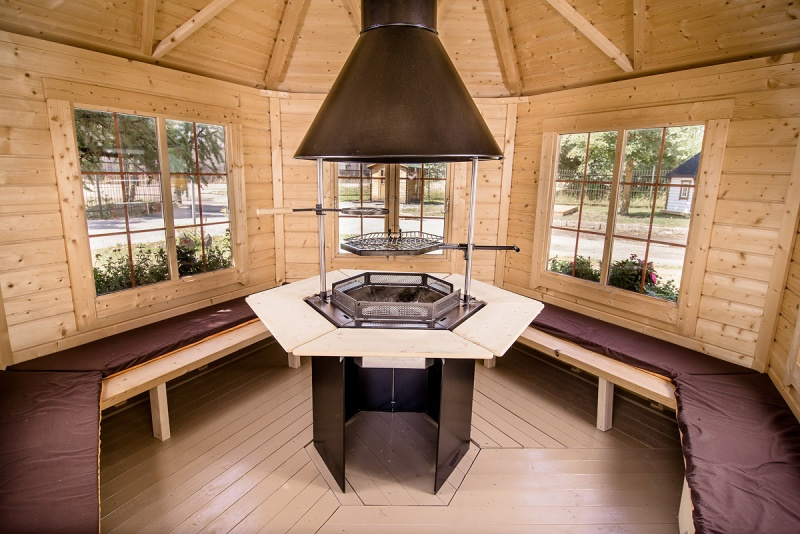 Adjustable Table Large-pavillion-bbq-hut By Forest Log Cabins