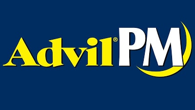 AdvilPM logo has blue background and yellow and while letters with half moon at end.