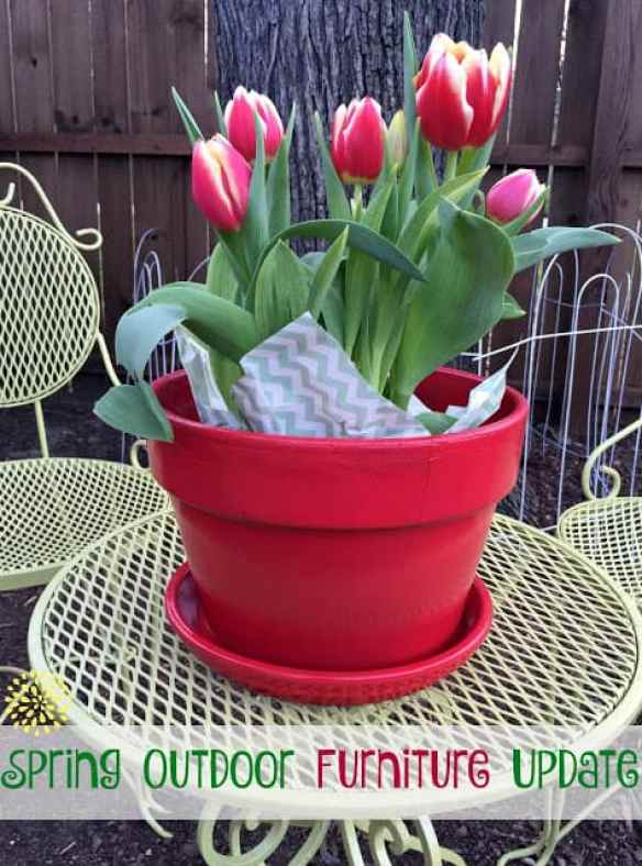 Freshly painted vintage table and chair with a freshly painted red flower pot holding beautiful fresh red and white tullips