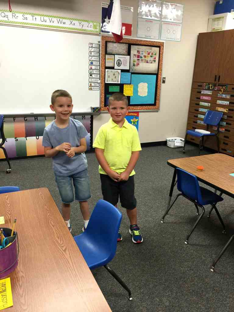 Brody and Rhyder in class standing next to each other