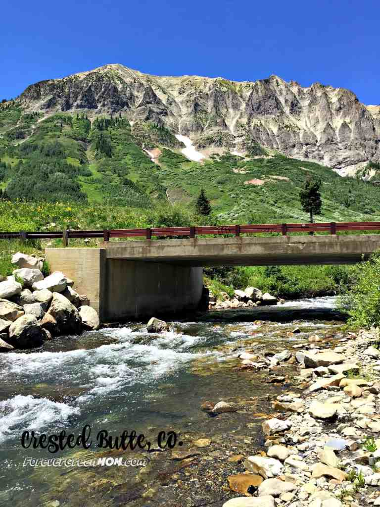 Family Vacation Crested Butte CO river bridge mountains