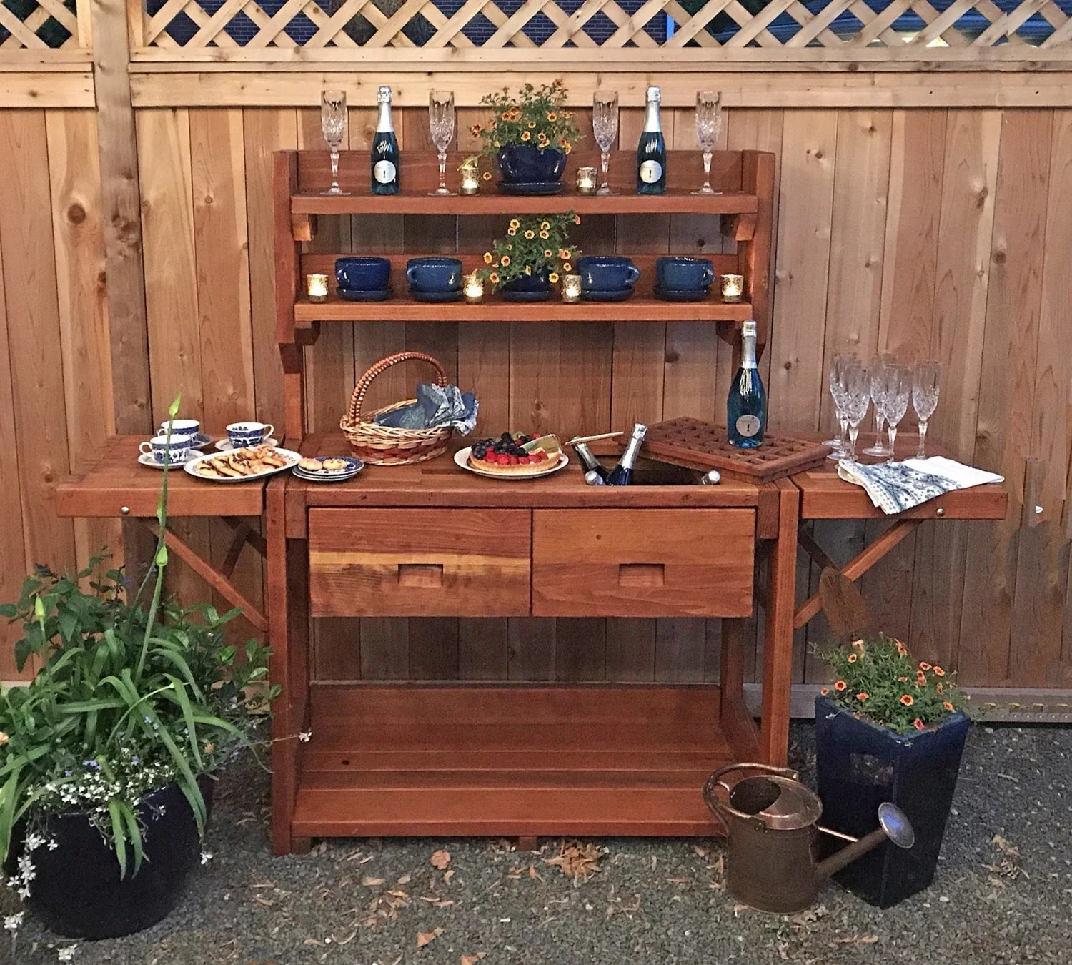 Planting Tables For Sale Redwood Potting Bench Custom Outdoor Wood Bench