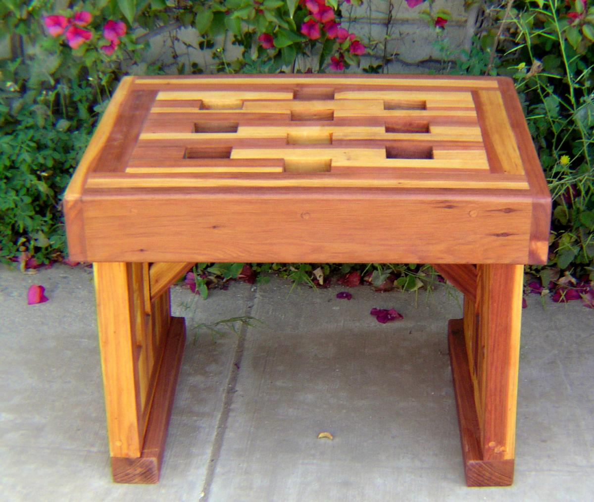 Small Garden Bench Redwood Lighthouse Garden Bench Custom Wood Seating
