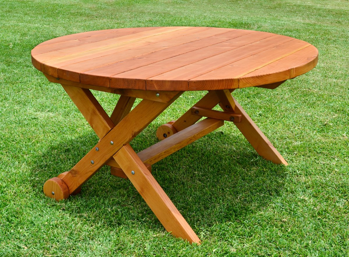 Table On Wheels Round Wood Picnic Table With Wheels Forever Redwood