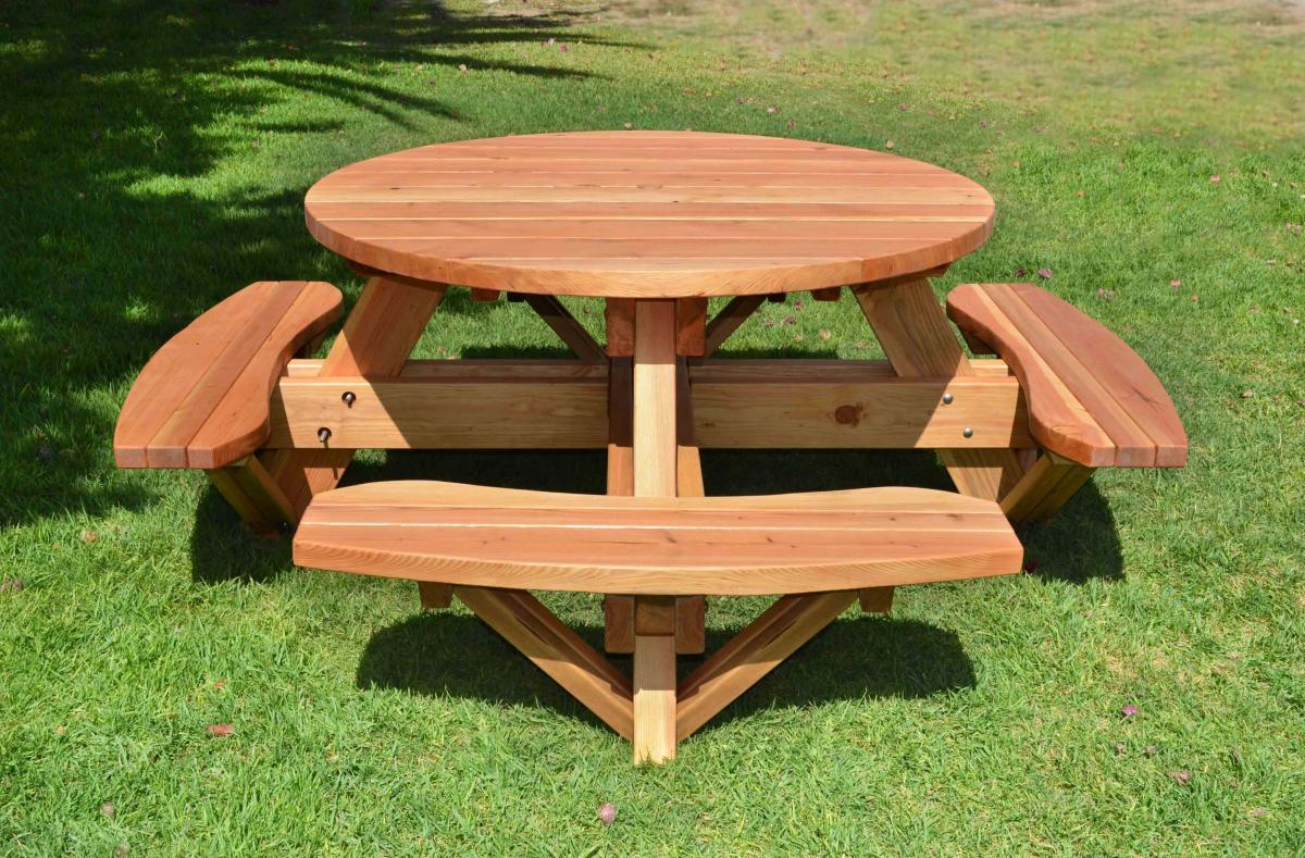Wooden Bench Table Round Wooden Picnic Table With Attached Benches