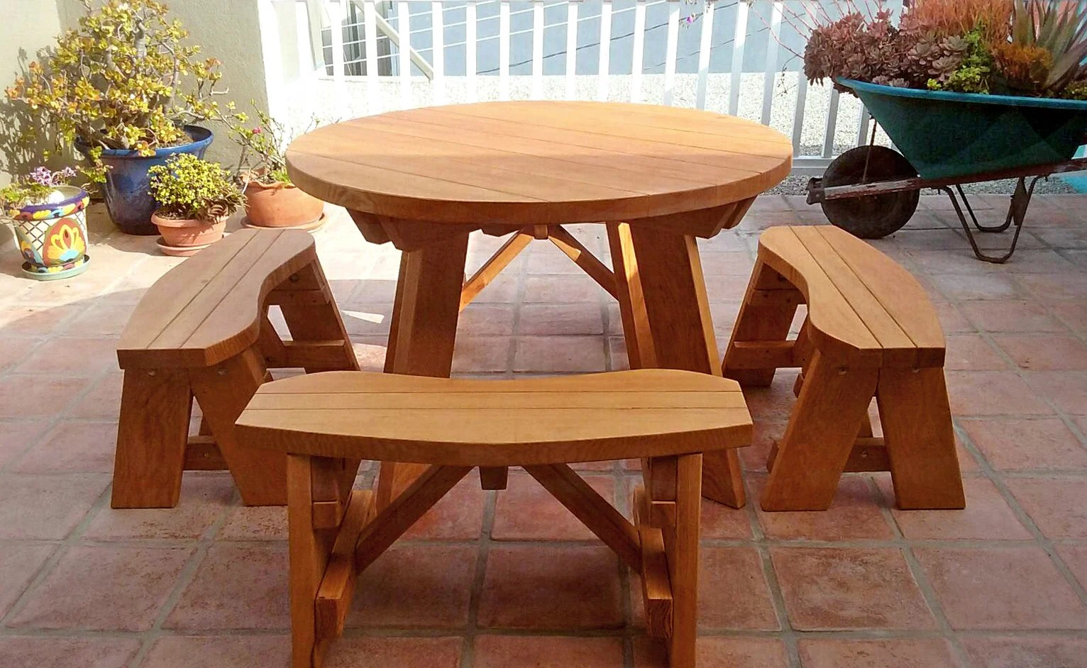Wooden Bench Table Round Wooden Picnic Table With Detached Benches