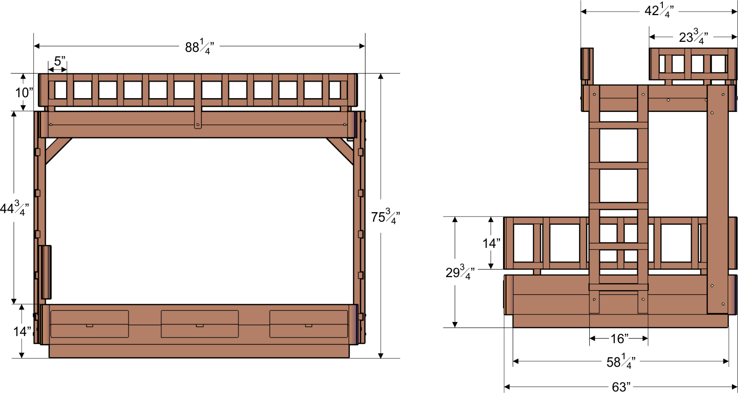 Bunk Bed Dimensions Wooden Bunk Beds Forever Redwood