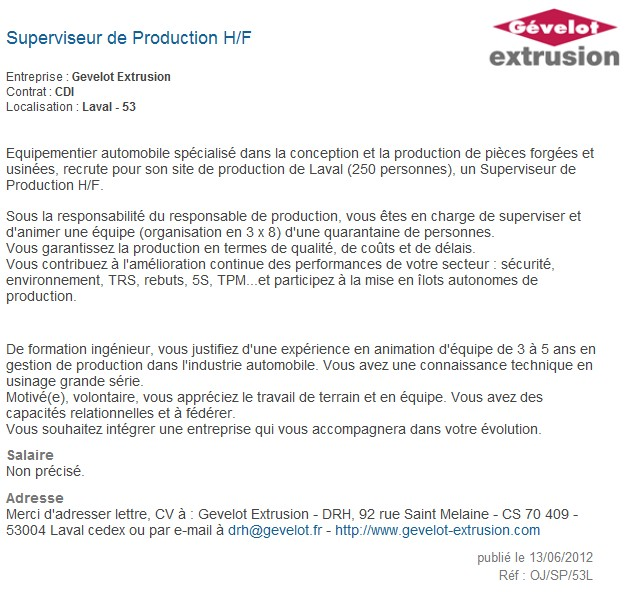 cv responsable d atelier de production