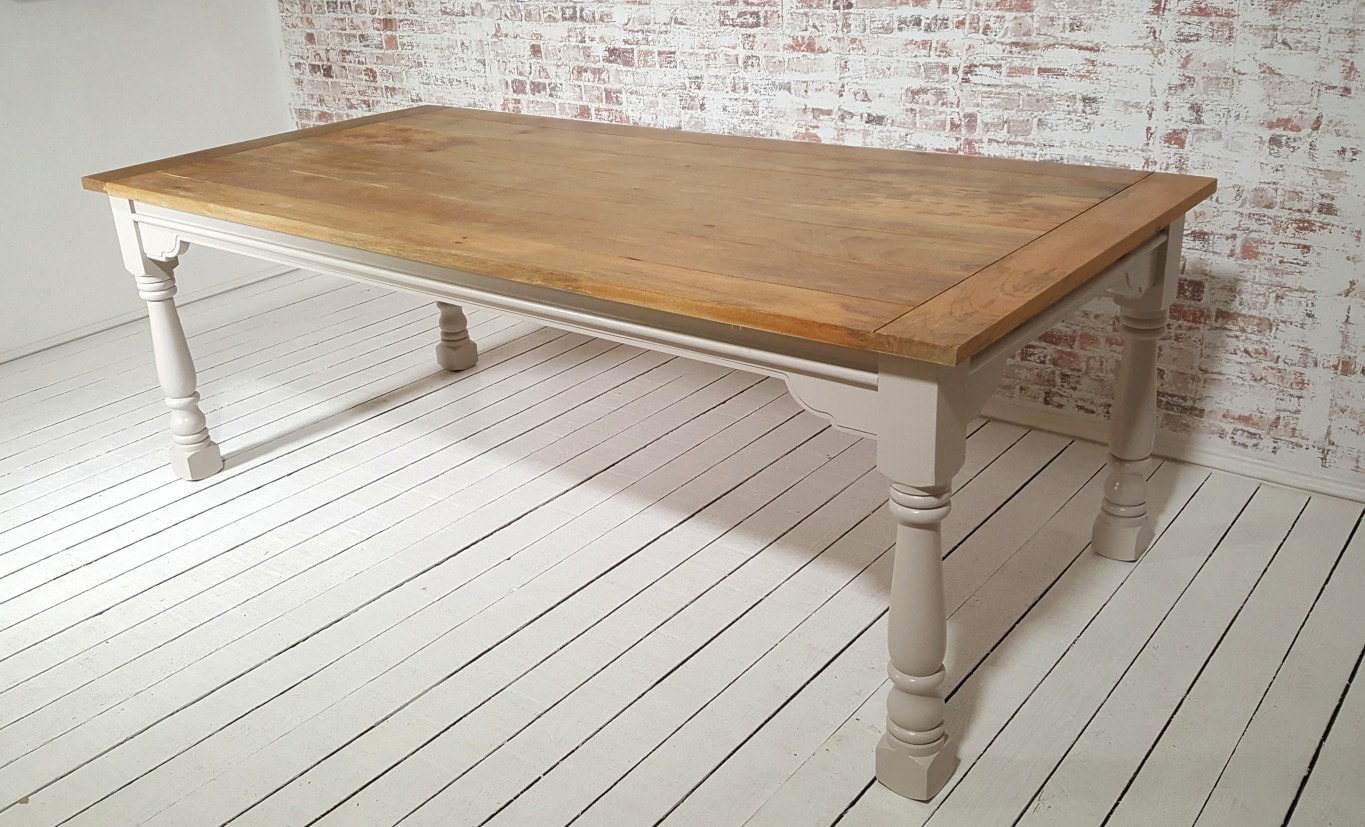 16 Seater Dining Table Large Extendable Rustic Farmhouse Dining Table Painted In