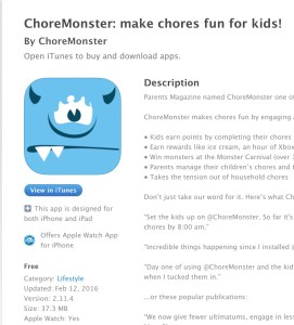 A fun Chores App that turns doing chores into a fun game for kids! The ChoreMonster app gets kids excited about cleaning up and helping out @choremonster
