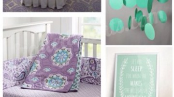 Nursery Inspiration - I love this Mint and Lilac Nursery Design board, perfect for baby girl beautiful crib bedding