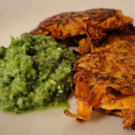 Sweet Potato Pancakes with Ramp Pesto