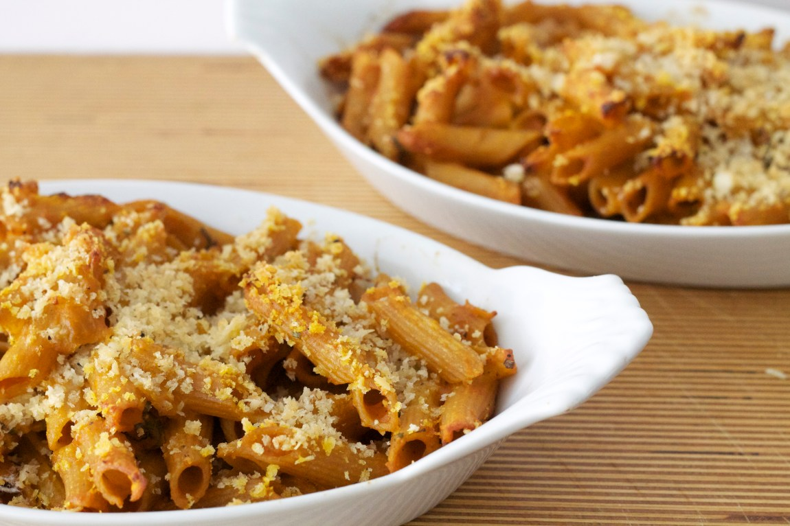Baked Whole Wheat Penne with Creamty Pumpkin Sauce