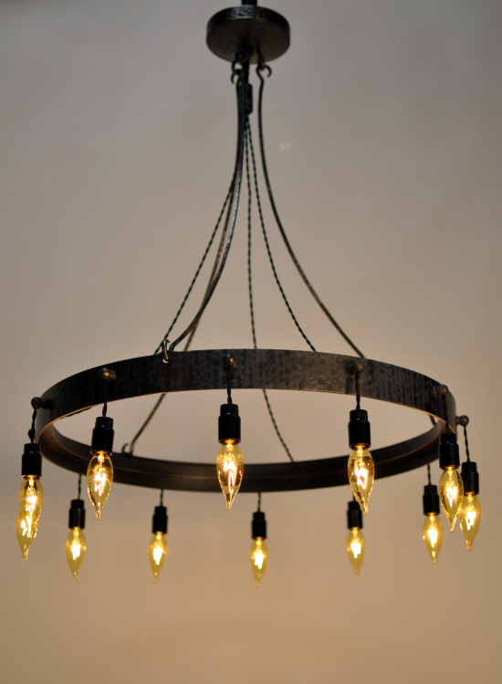 Lighting fixture 24″ x 36″ high forged iron glass and ac form reform designed by jon sarriugarte