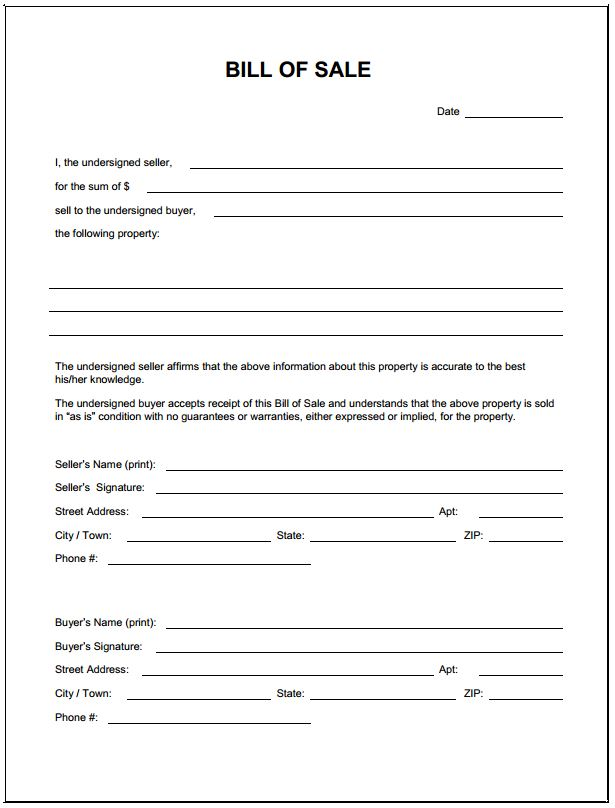 Free Blank Bill of Sale Form PDF Template Form Download - bill of sale form in pdf