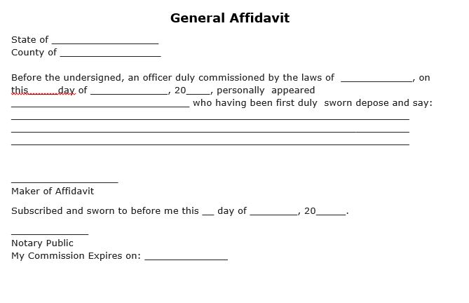 Free General Affidavit Form PDF Template Form Download - affidavit statement of facts