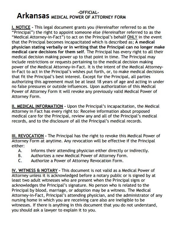 Free Arkansas Power Of Attorney Form PDF Template Form Download