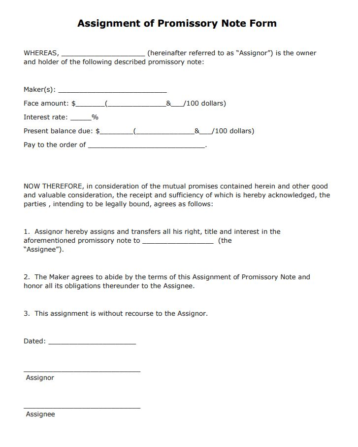 Free Assignment of Promissory Note Form PDF Template Form Download