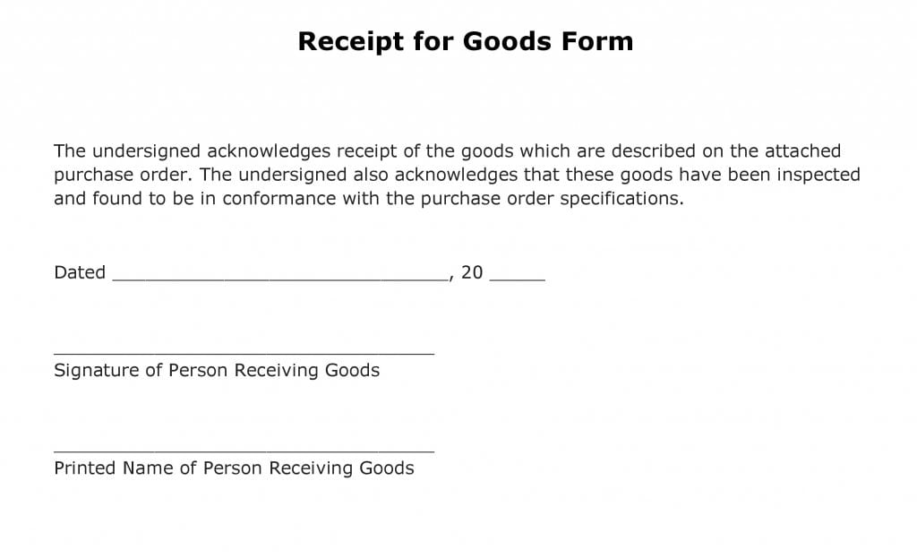 Free Receipt for Goods Form PDF Template Form Download