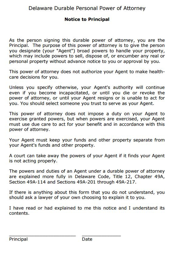 Free Durable Power of Attorney Forms PDF Template Form Download