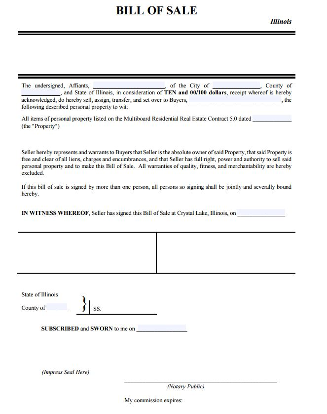 bill of sale form illinois - Olalapropx - nc dmv bill of sale form
