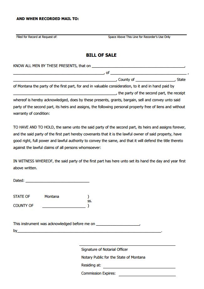 Free Montana Bill of Sale Form PDF Template Form Download - bill of sale form in pdf