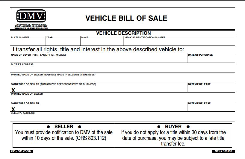 Free Oregon Vehicle Bill of Sale Form PDF Template Form Download - bill of sale form in pdf