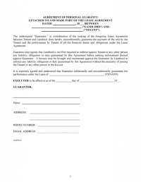 Free Agreement Of Personal Guaranty