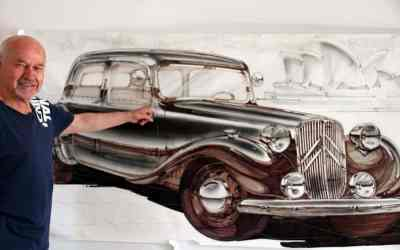 Bryon Fitzpatrick with a full-size rendering of his first car, a Citroen Light 15