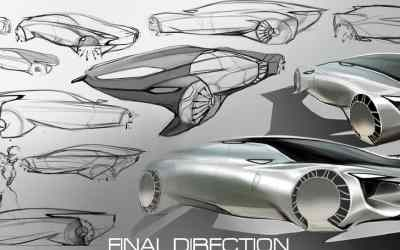 Six-passenger Mercedes concept sketches by Darby Barber