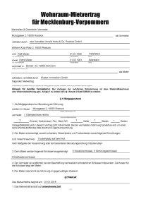 Wohnraum-Mietvertrag fr Mecklenburg-Vorpommern ...