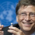 Bill Gates, Co-Chair the Bill & Melinda Gates Foundation shows a vaccine during the press conference. UN