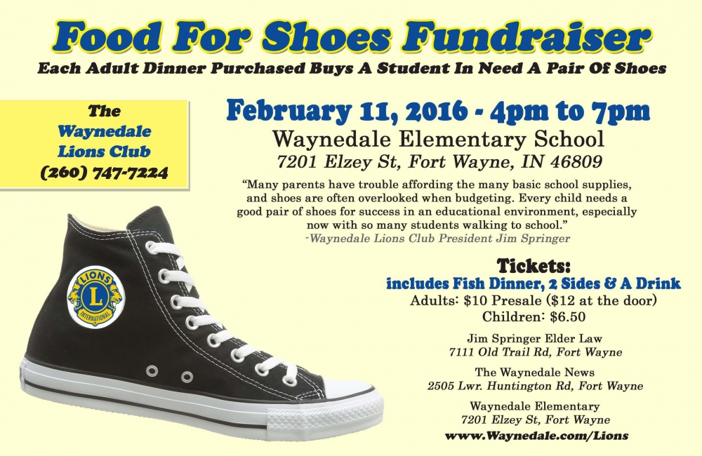 Food For Shoes\u201d Fundraiser, Each Dinner Ticket Sold Provides A Local
