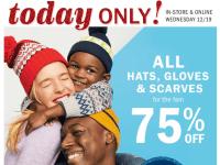 Old Navy: Hats, Gloves & Scarves 75% ONLY 12/19 - FTM