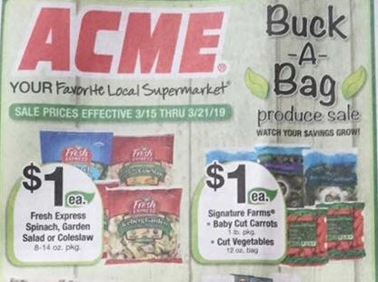 Acme Buck A Bag Produce Sale Starting 3 15 Ftm