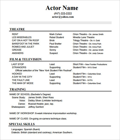 INTERMEDIATE THEATRE - audition form