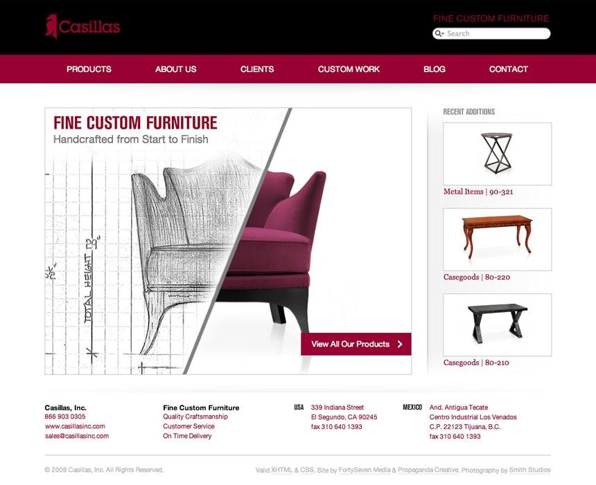 Casillas Custom Furniture Website Portfolio FortySeven Media