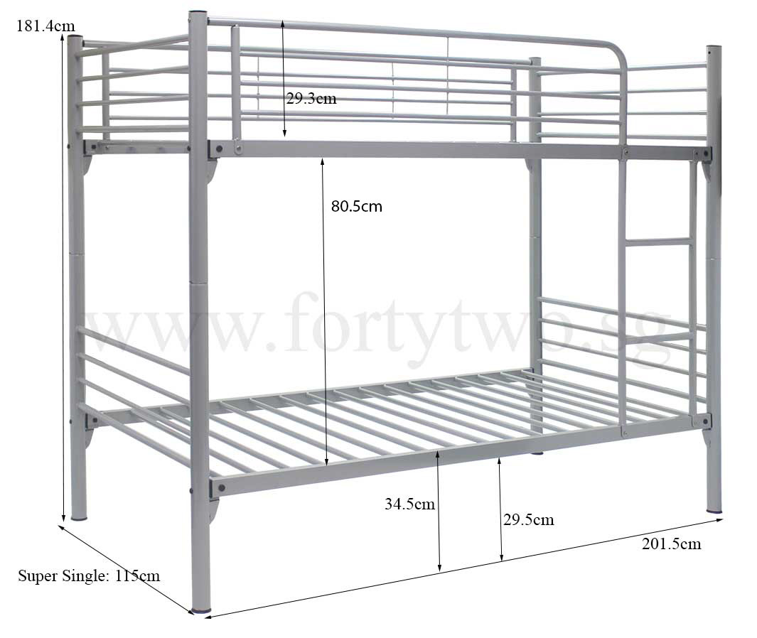 Bunk Bed Dimensions Michelle Double Deck Bed Super Single Size Furniture