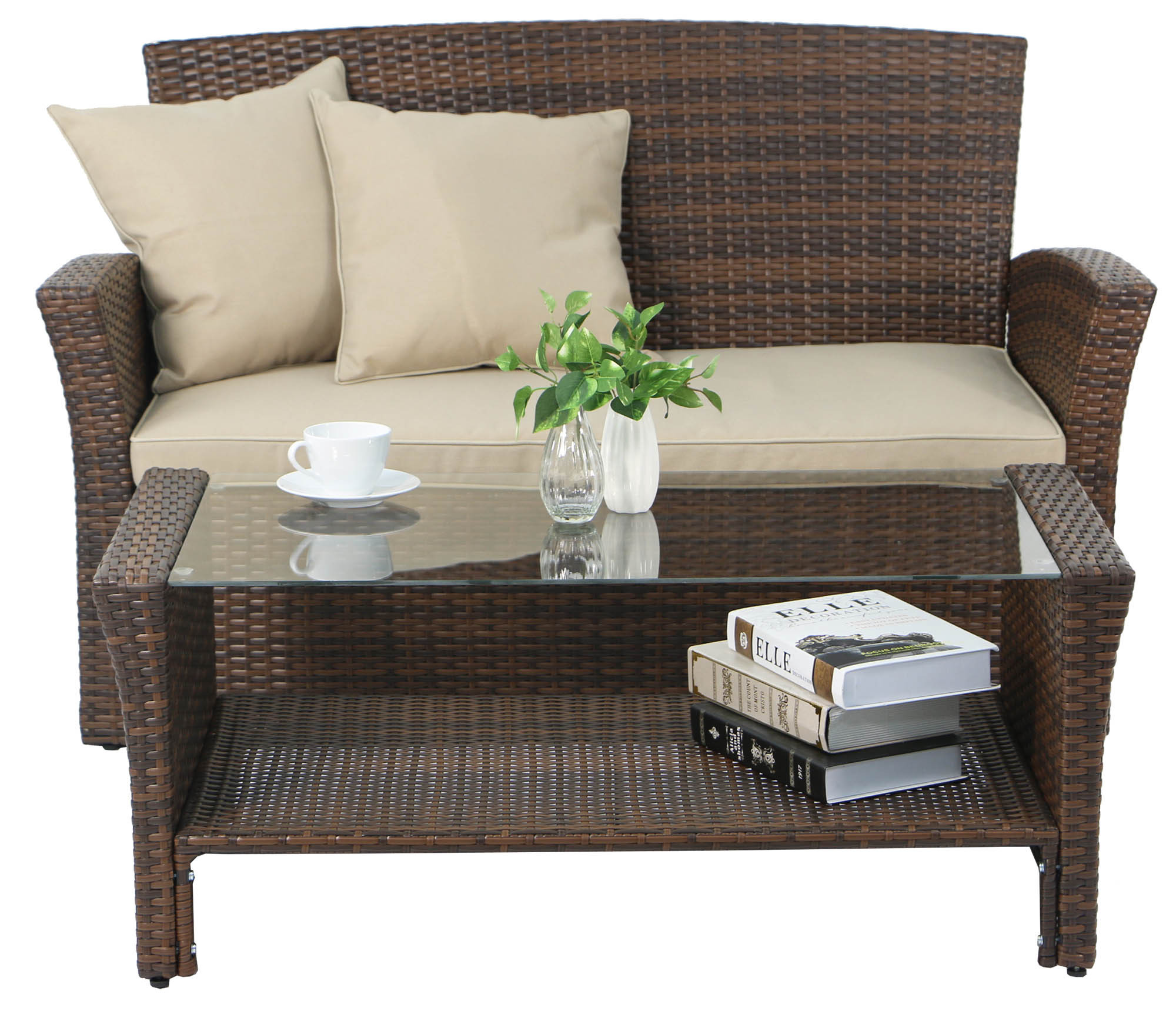 Outdoor Sofa Rattan Beaumont Synthetic Rattan Outdoor Sofa Set Brown