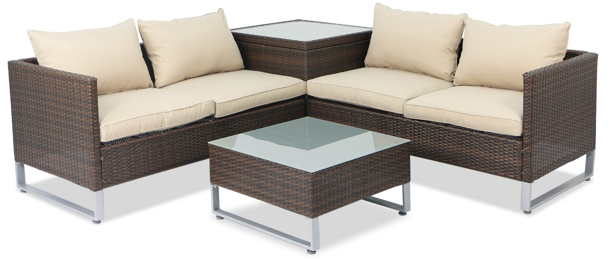 Outdoor Couch Royal Synthetic Rattan Outdoor Sofa Set With Storage Box Brown