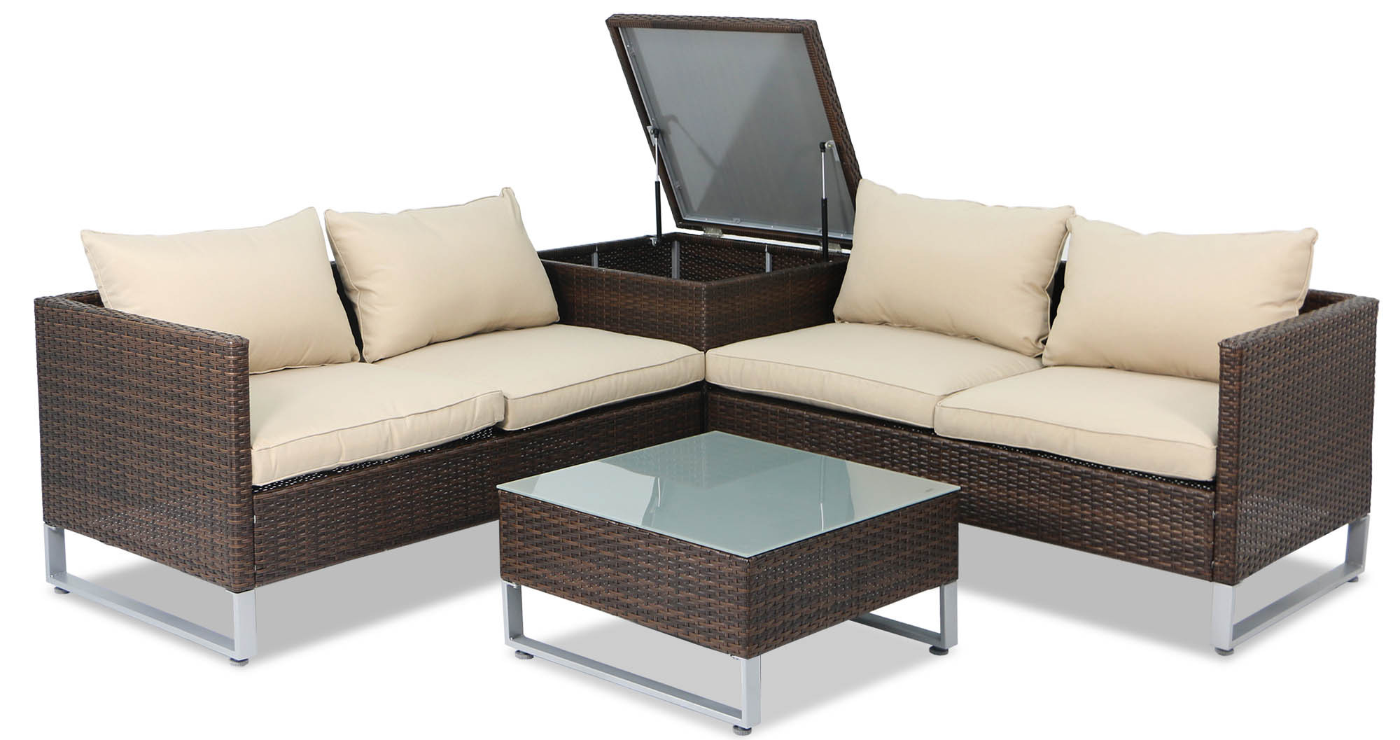 Outdoor Sofa Rattan Royal Synthetic Rattan Outdoor Sofa Set With Storage Box Brown