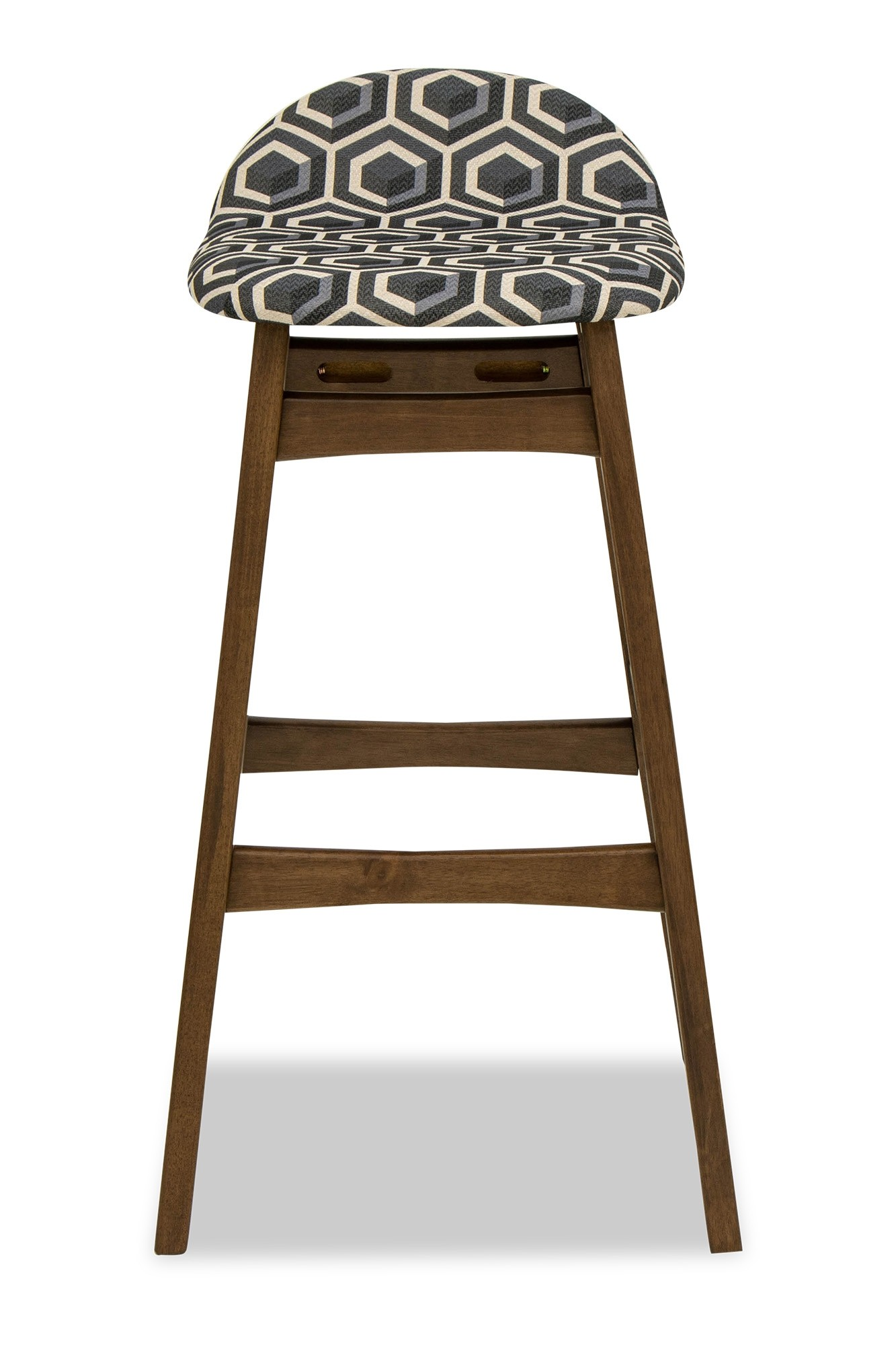 Living Room Stools Uk Enzo Bar Stool Walnut With Navy Blue Pattern Bar Stools
