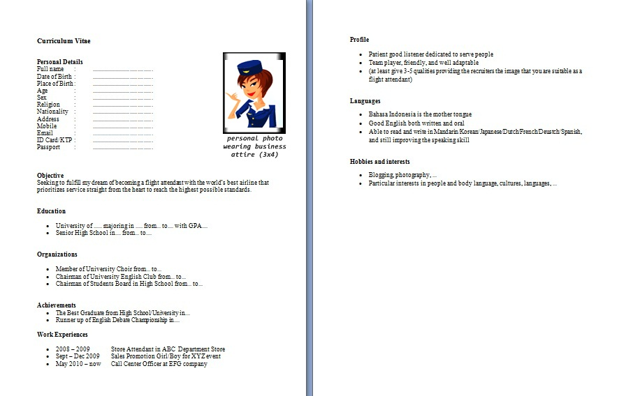 Resume For Fresher Cabin Crew | Visio Template For Business Process