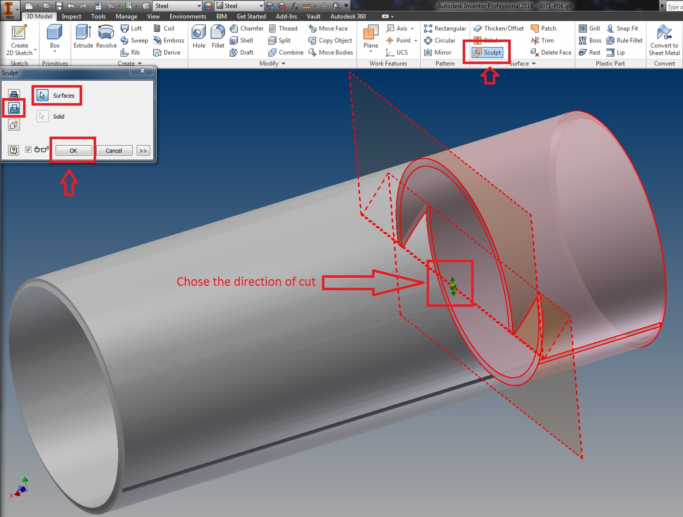 Solved Cutting A Part With A Surface Autodesk Community Inventor