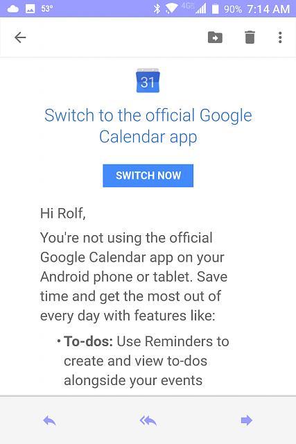 You\u0027re not using the official Google Calendar app!\