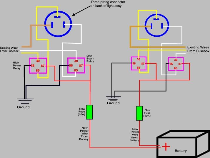 h4 headlight socket wiring diagram