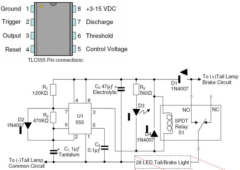 pulsing third brake light circuit