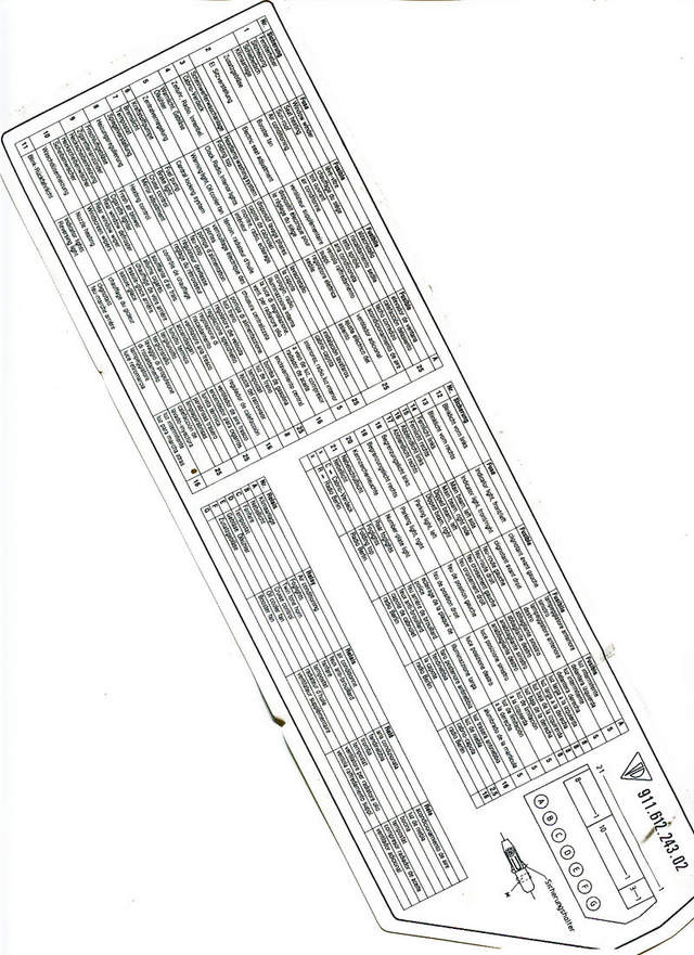 porsche 356 fuse box label