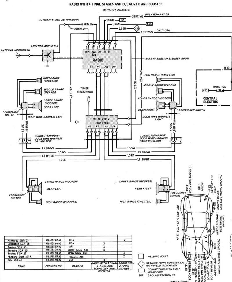 wiring diagram for radio 1986 porsche 944